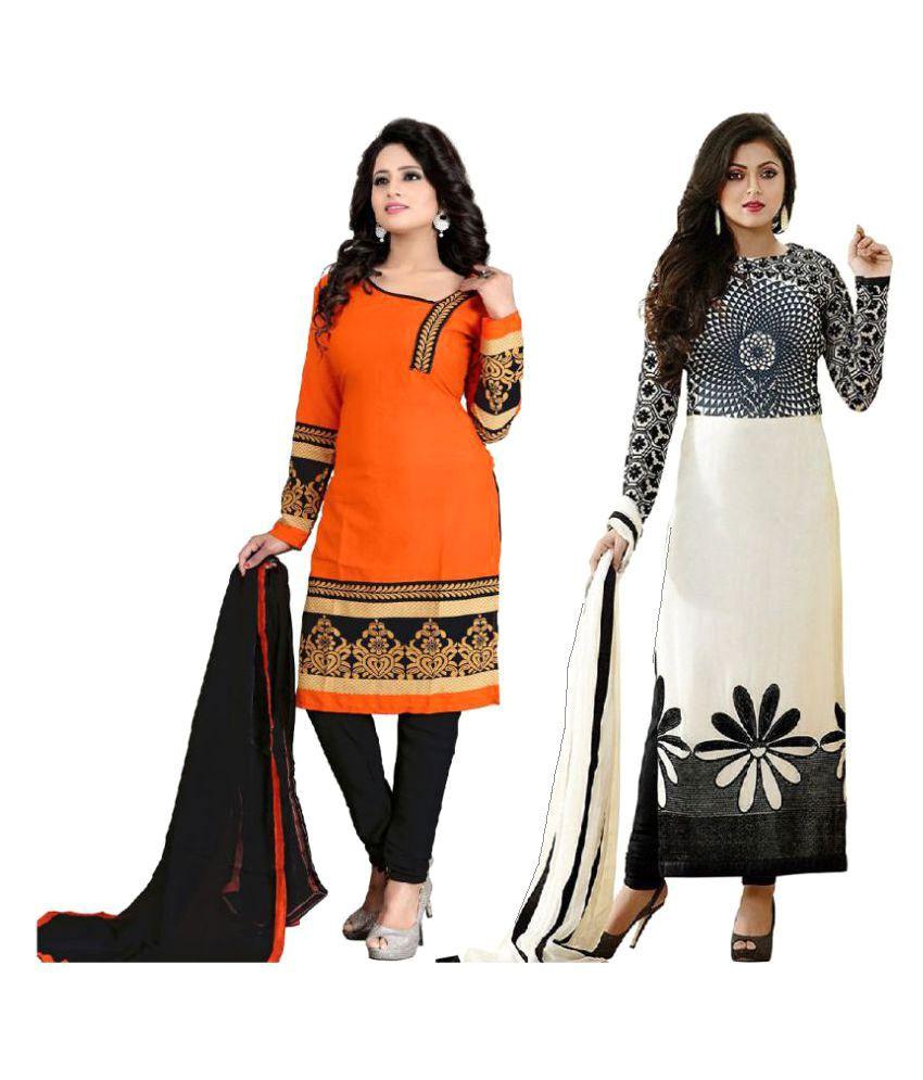 Raul Zone Orange and Black Polycotton Dress Material