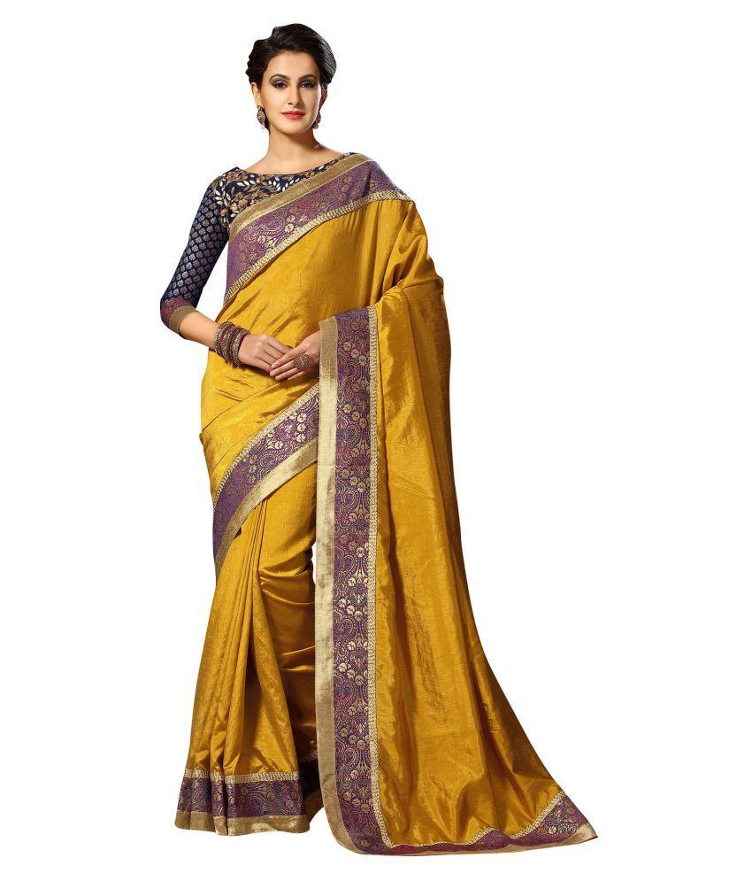 Viva N Diva Yellow Dupion Silk Saree
