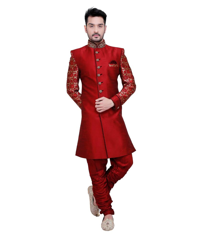 Nu Abc Garments Red Silk Sherwani