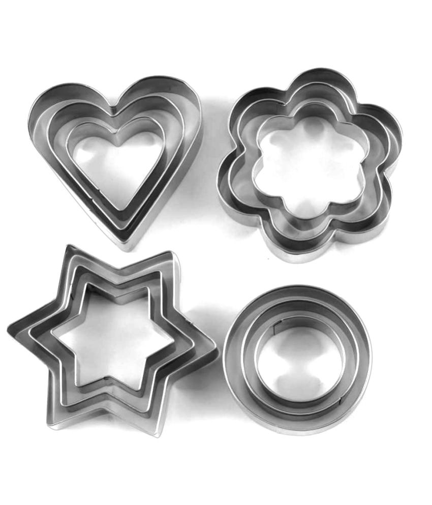 Divinext Stainless Steel Cookie Cutter with 4 Shape - Set of 12 Pieces