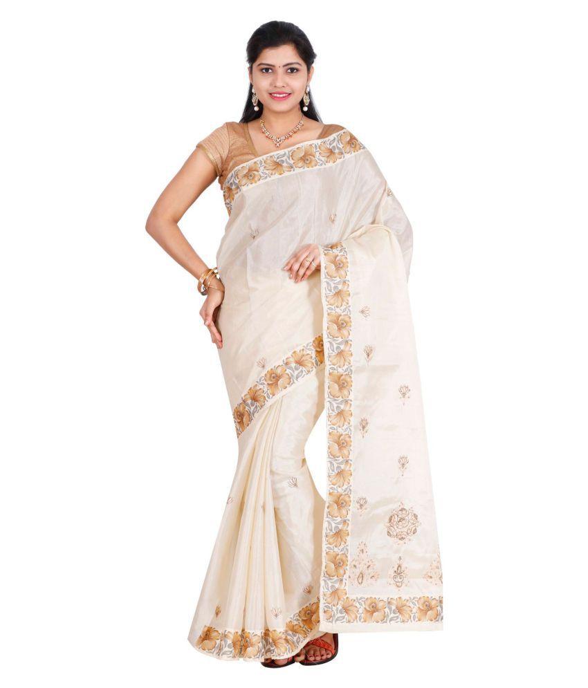 The Chennai Silks White Cotton Saree - Buy The Chennai ...