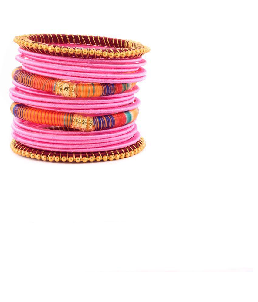 Thirsty Guys Multicolour Silk Thread Plastic Bangle Set