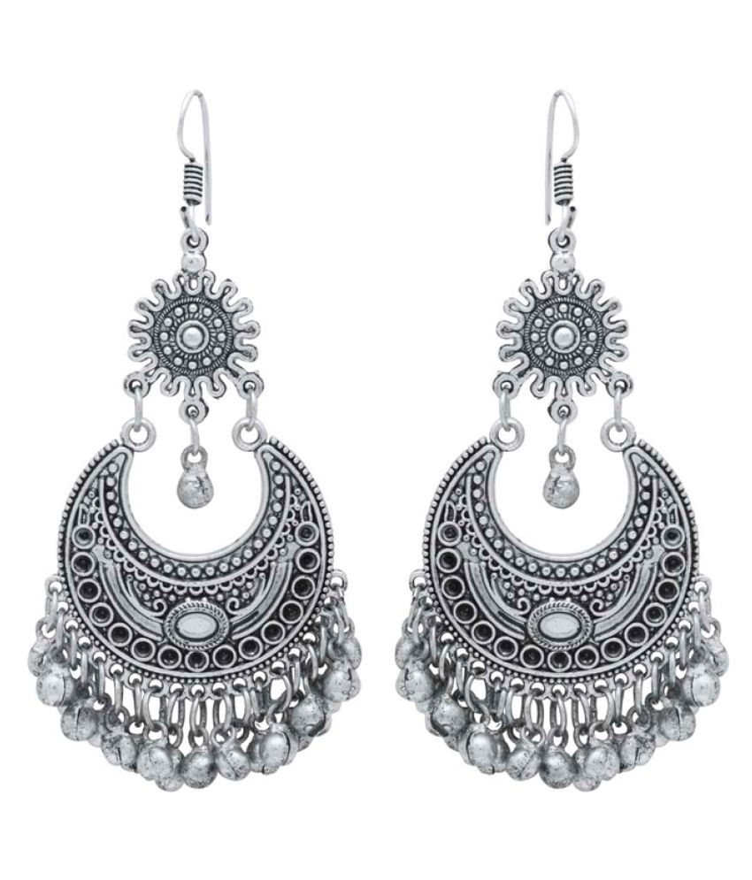 f1289cbc4 ... Silver Plated Hanging Earrings - Buy Navrang Classy Chandbali Oxidised  Silver Plated Hanging Earrings Online at Best Prices in India on Snapdeal