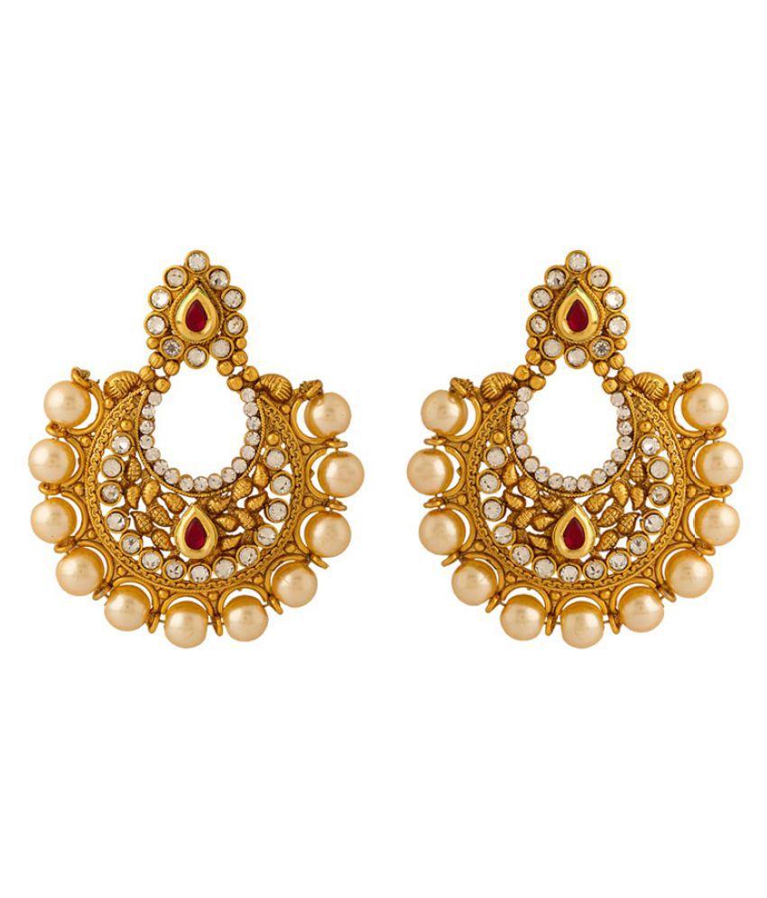 Navrang Golden Chandeliers Earrings For Women