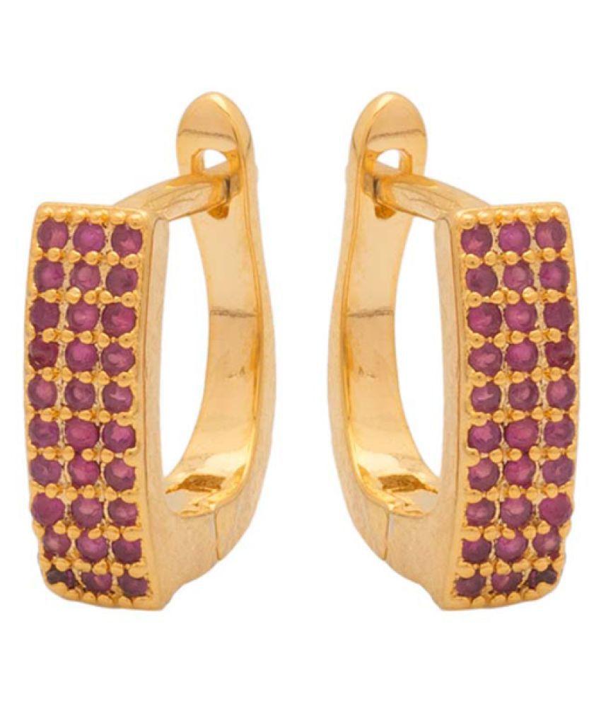 Navrang Shiny Stones Studded Multicolour Huggies Earrings For Women
