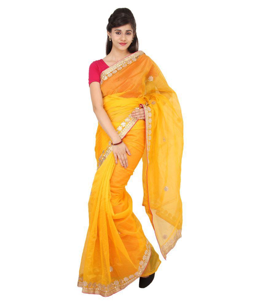 e053a2e7a0 Designerhaat Yellow Super Net Saree - Buy Designerhaat Yellow Super Net  Saree Online at Low Price - Snapdeal.com