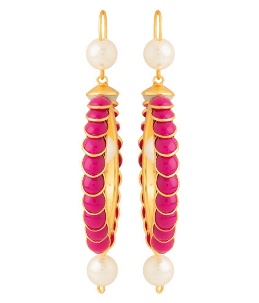 Navrang Multicolour Stones Studded Pearl Beads Designer Hanging Earrings