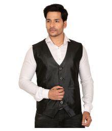 Nu Abc Garments Black Solid Casual Waistcoats