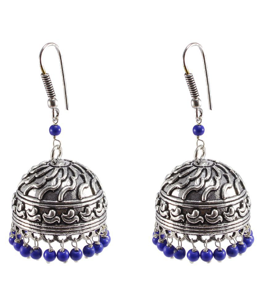 Silvesto India Silver Beautiful Handmade Oxidized Jhumki Earrings
