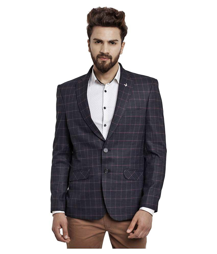 Canary London Purple Checks Casual Blazers