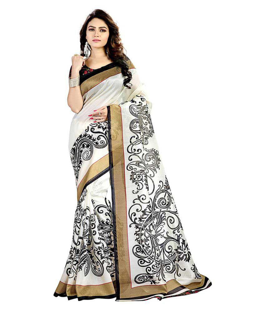 7e446371a Wama Fashion White and Grey Bhagalpuri Silk Saree - Buy Wama Fashion White  and Grey Bhagalpuri Silk Saree Online at Low Price - Snapdeal.com