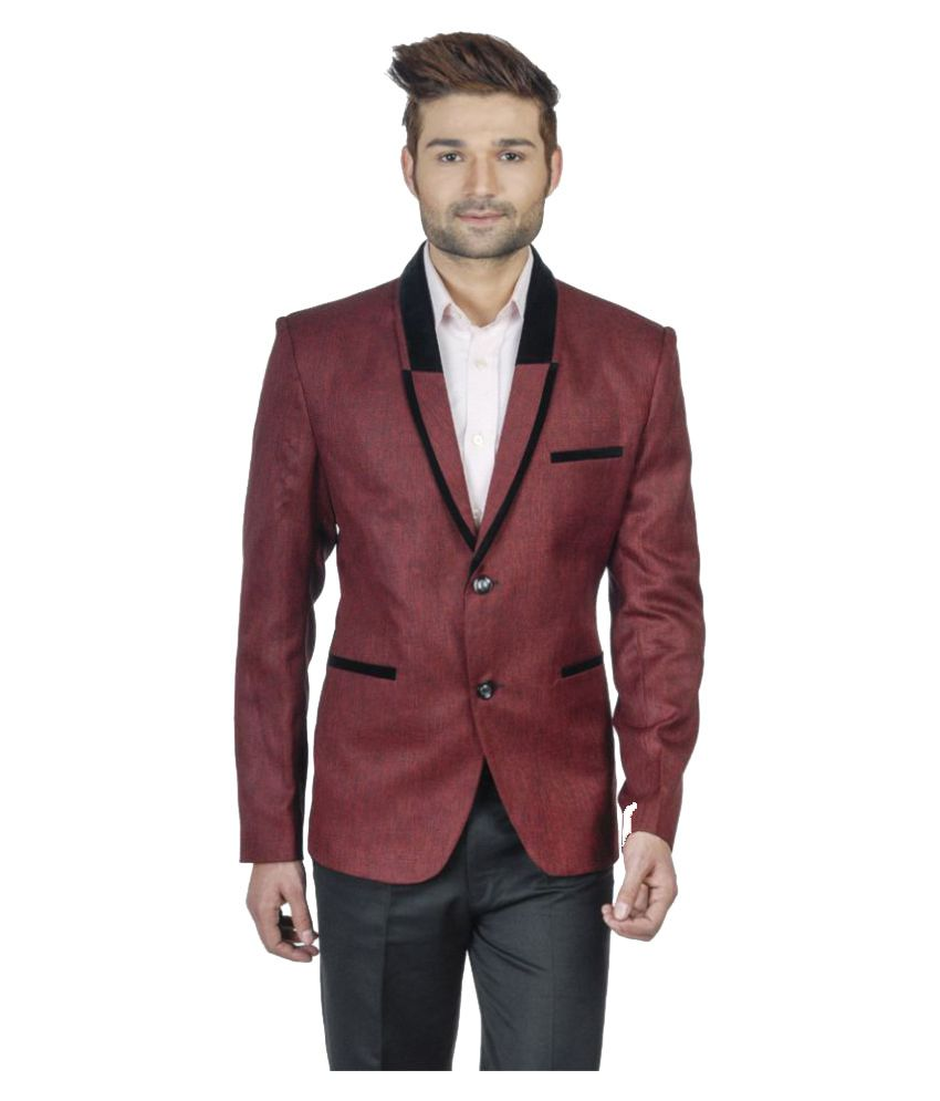 S.S F Maroon Solid Party 2 Piece Suits