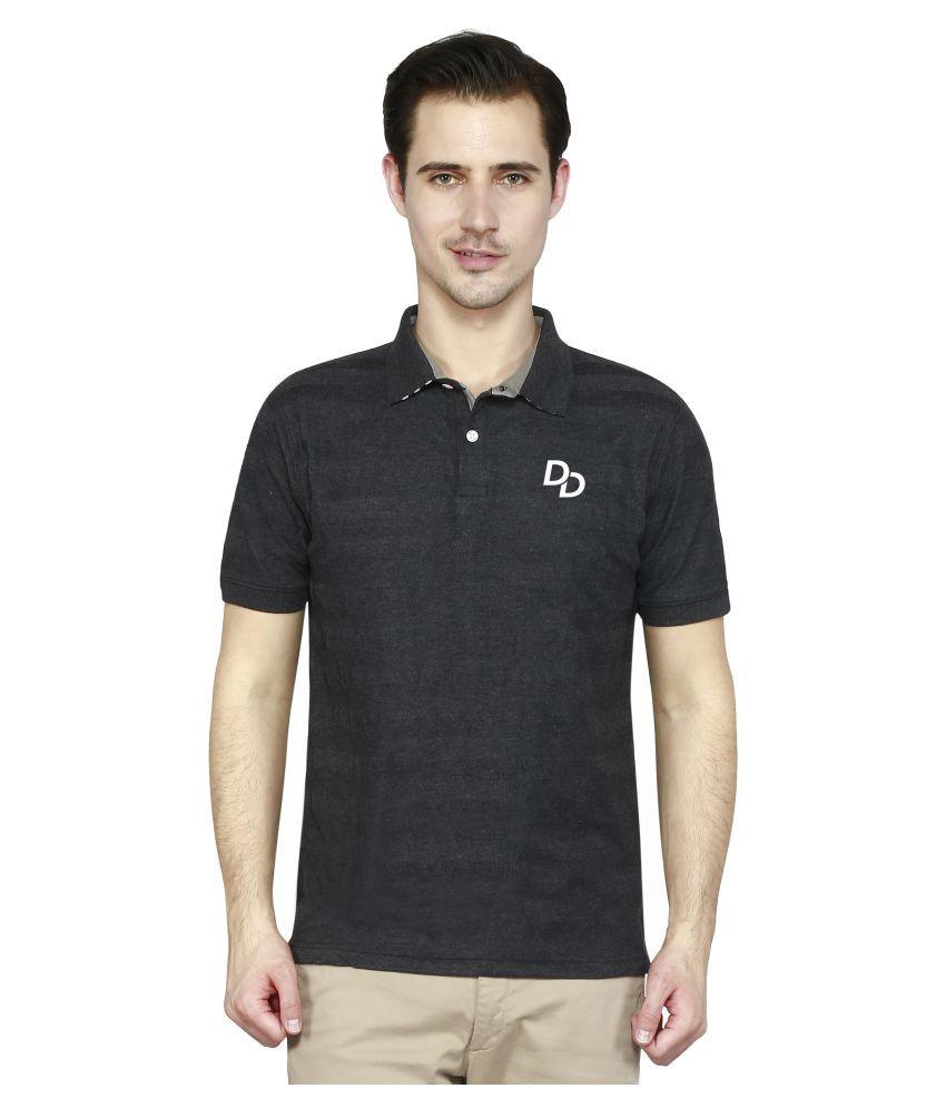 Delhi Daredevils Black Cotton Polo T-shirt