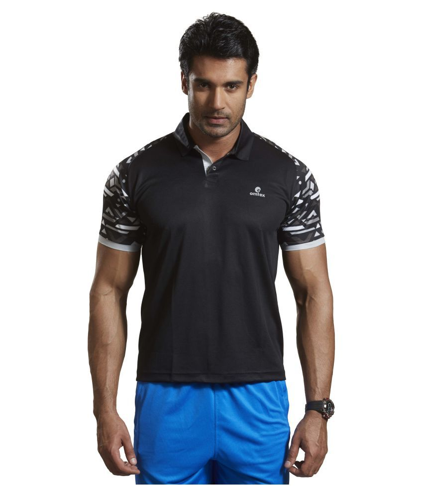 Omtex Black Polyester Active Wear Polo T-Shirt