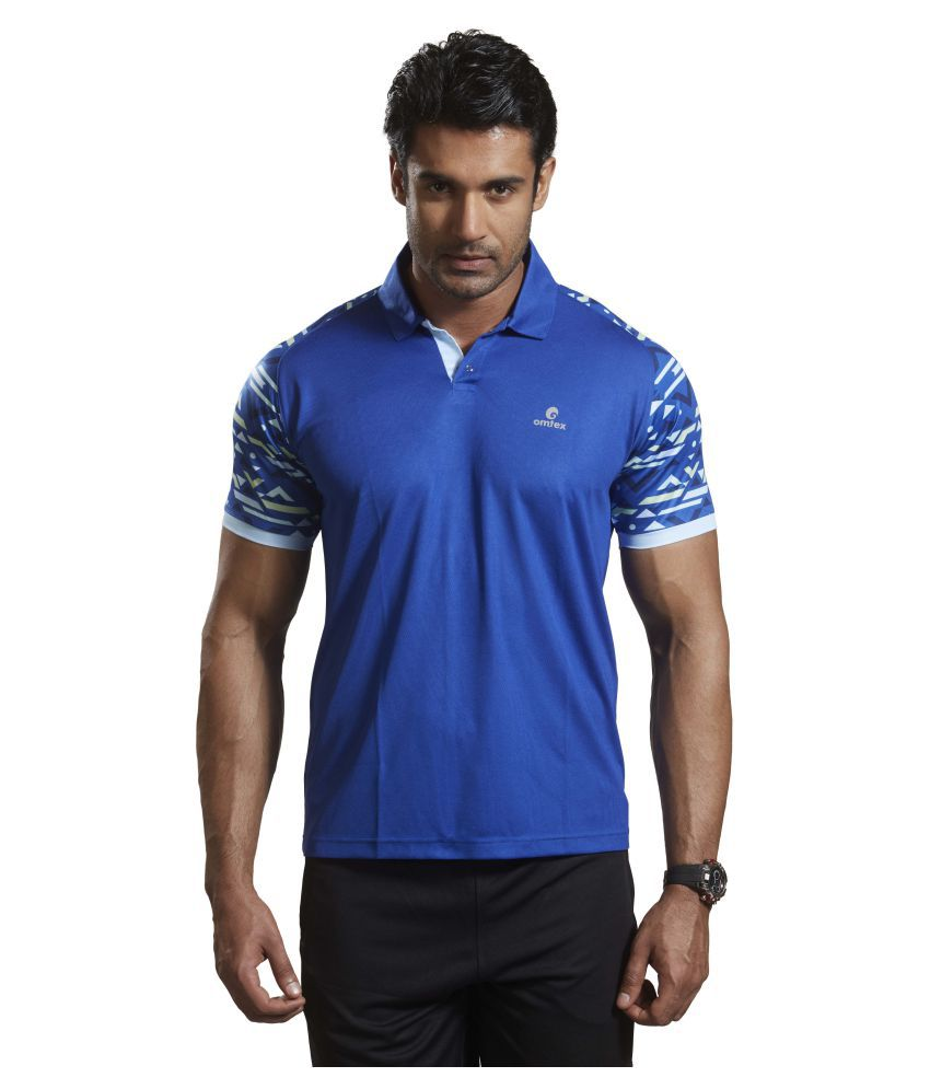Omtex Blue Polyester Active Wear Polo T-Shirt
