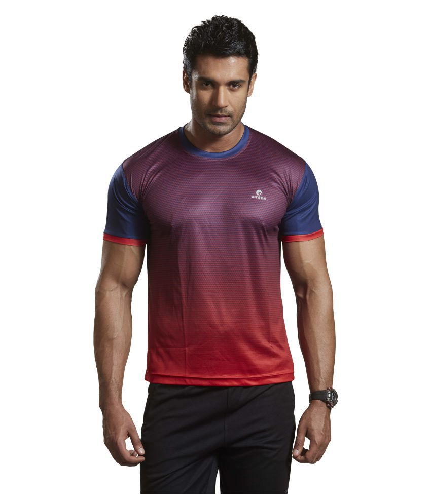 Omtex Red Polyester Active Wear T-Shirt