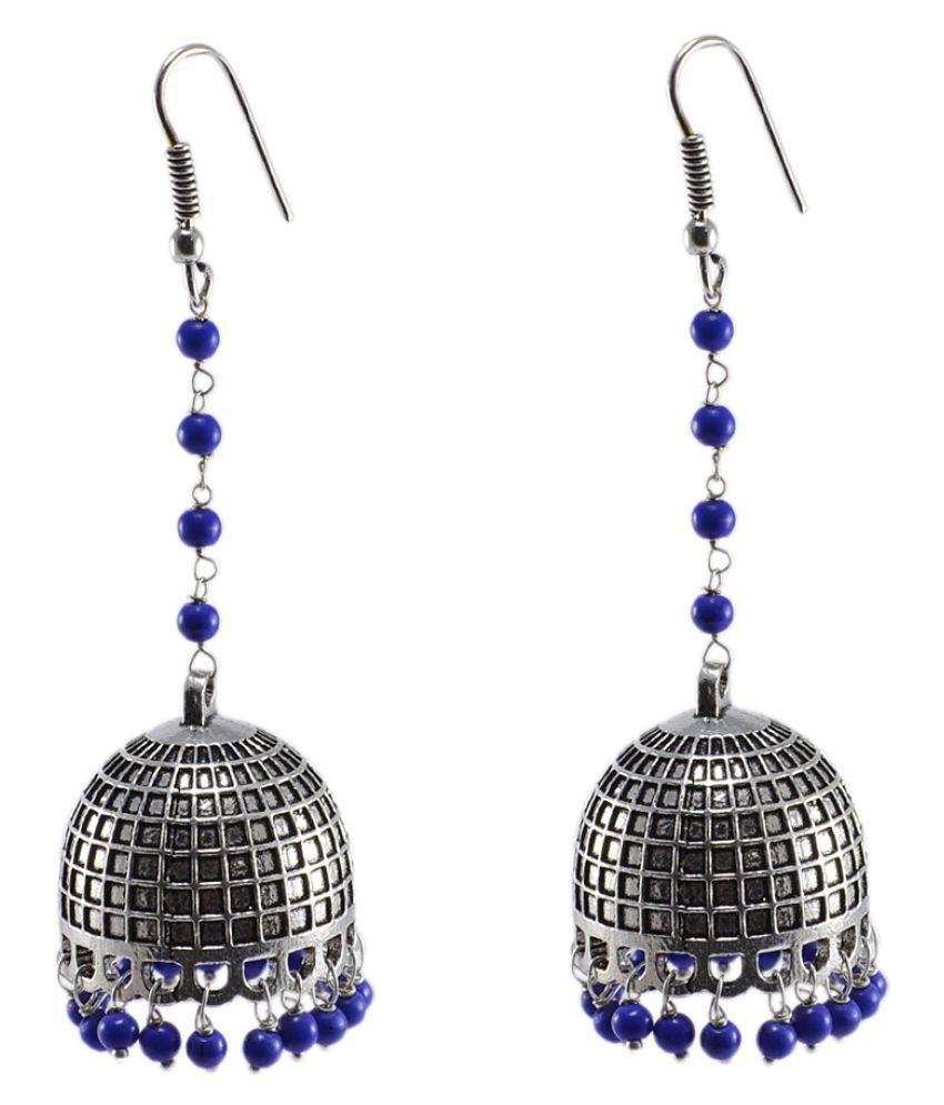 Silvesto India Silver Jaipuri Jhumka-Indian Jewelry-Big Tribal Earrings With Blue Lapis