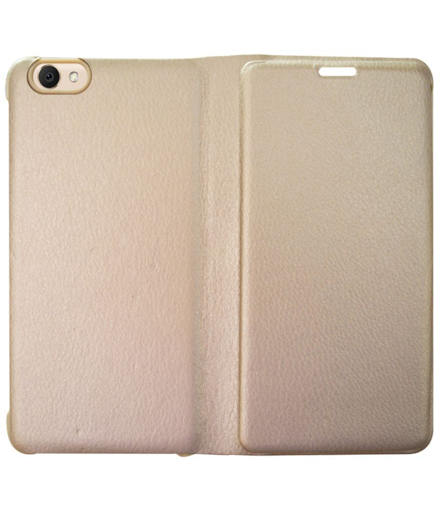 online retailer 6db5c 181f7 vivo Y53 Flip Cover by COVERNEW - Golden