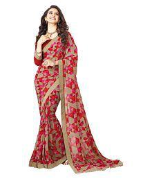 Gazal Fashions Red and Beige Chiffon Saree