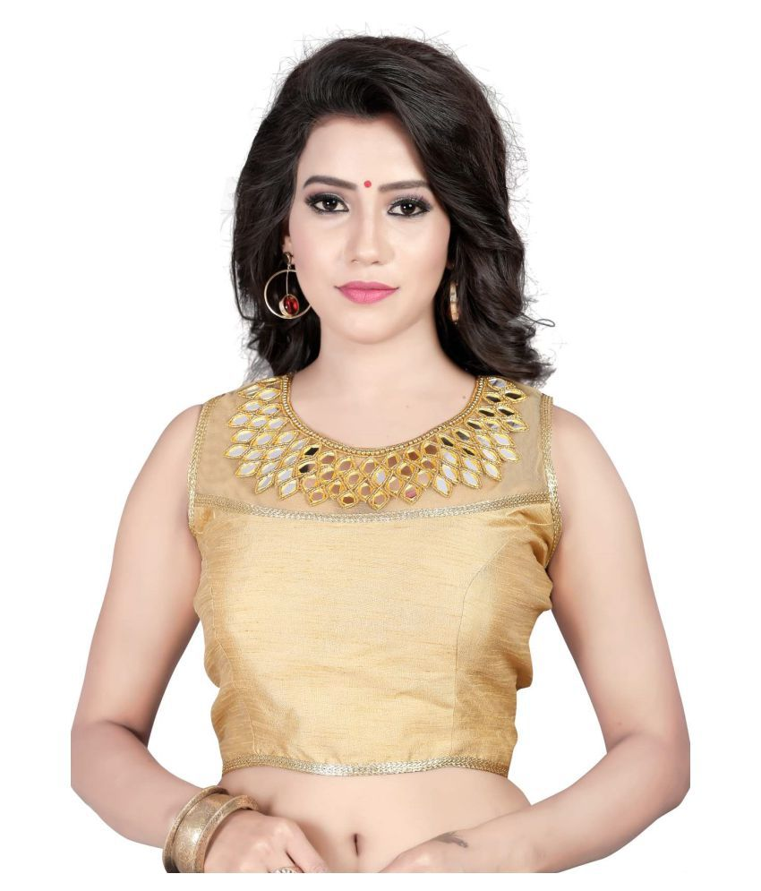 Womens Ethnic Gold Round Shape With Dori Blouse