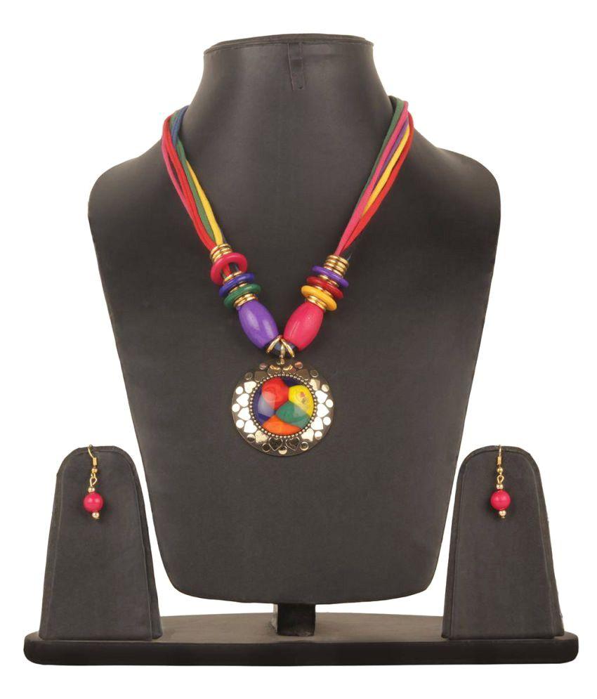 Fedexo Multicolored Cotton Metal Necklace Set