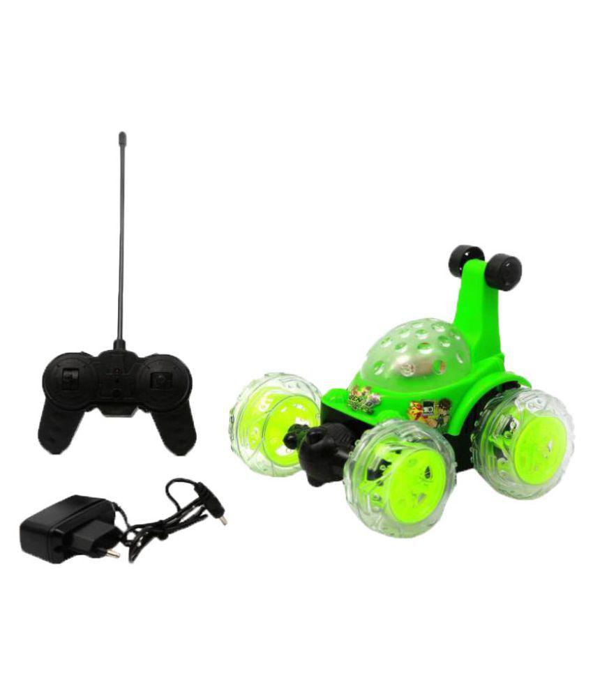 Latest Green Plastic Ben10 Rechargeable Stunt Car
