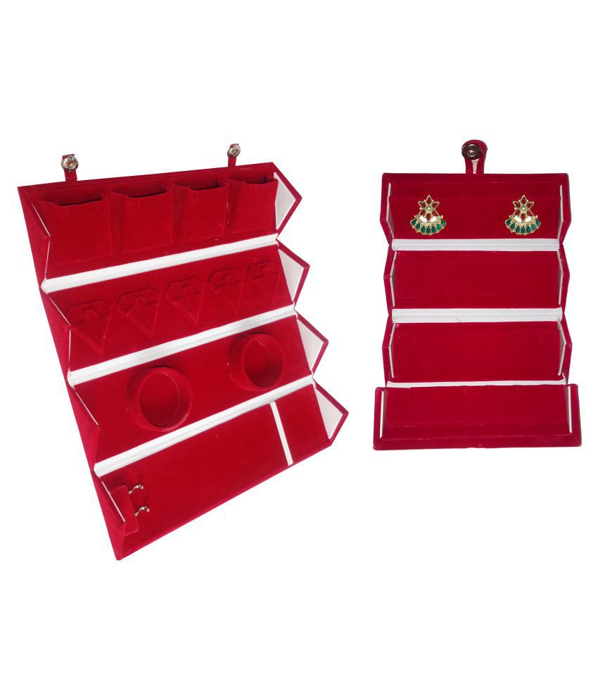 Abhinidi Combo of Red All In One Folder and Earring Vanity Case Box