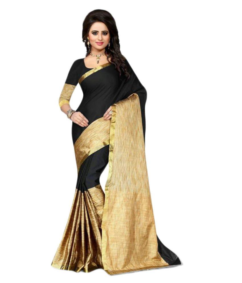 Saloni Designer Black Cotton Silk Saree