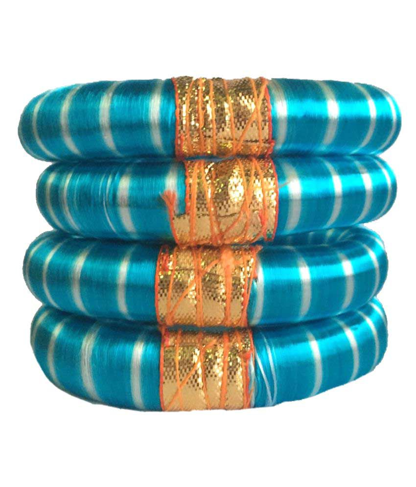 Thirsty Guys Blue Silk Thread Plastic Kada Set