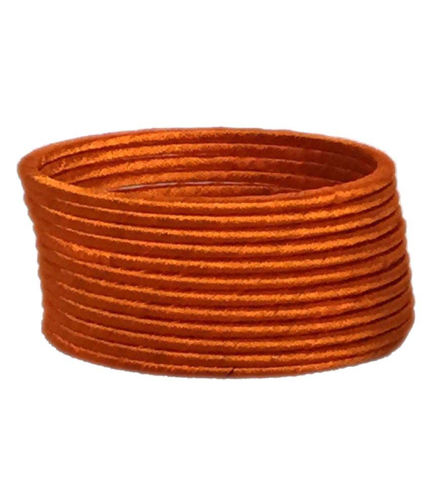 Thirsty Guys Orange Color Silk Thread Plastic Bangles for Women