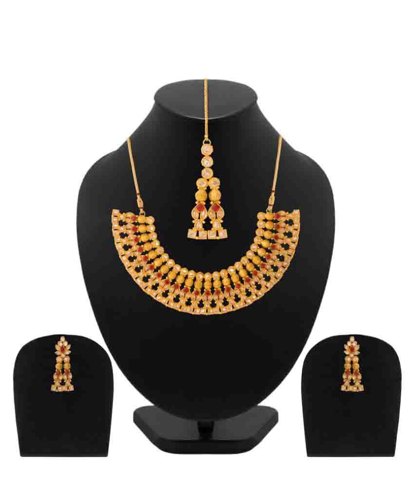 Navrang Golden Coloured Stones Necklace Set