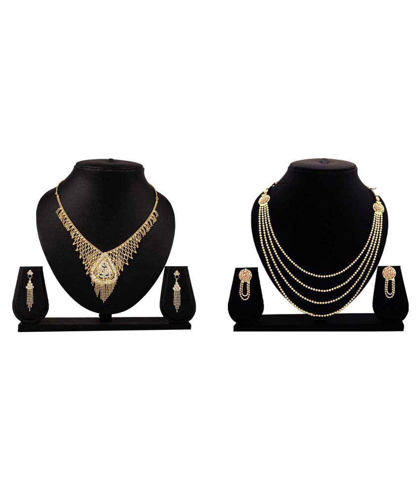 Dealseven Fashion Golden Alloy Necklace set Combo