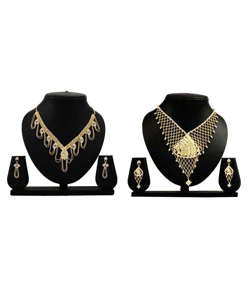 Dealseven Fashion Golden Alloy Necklace Set Combo - Pack of 2