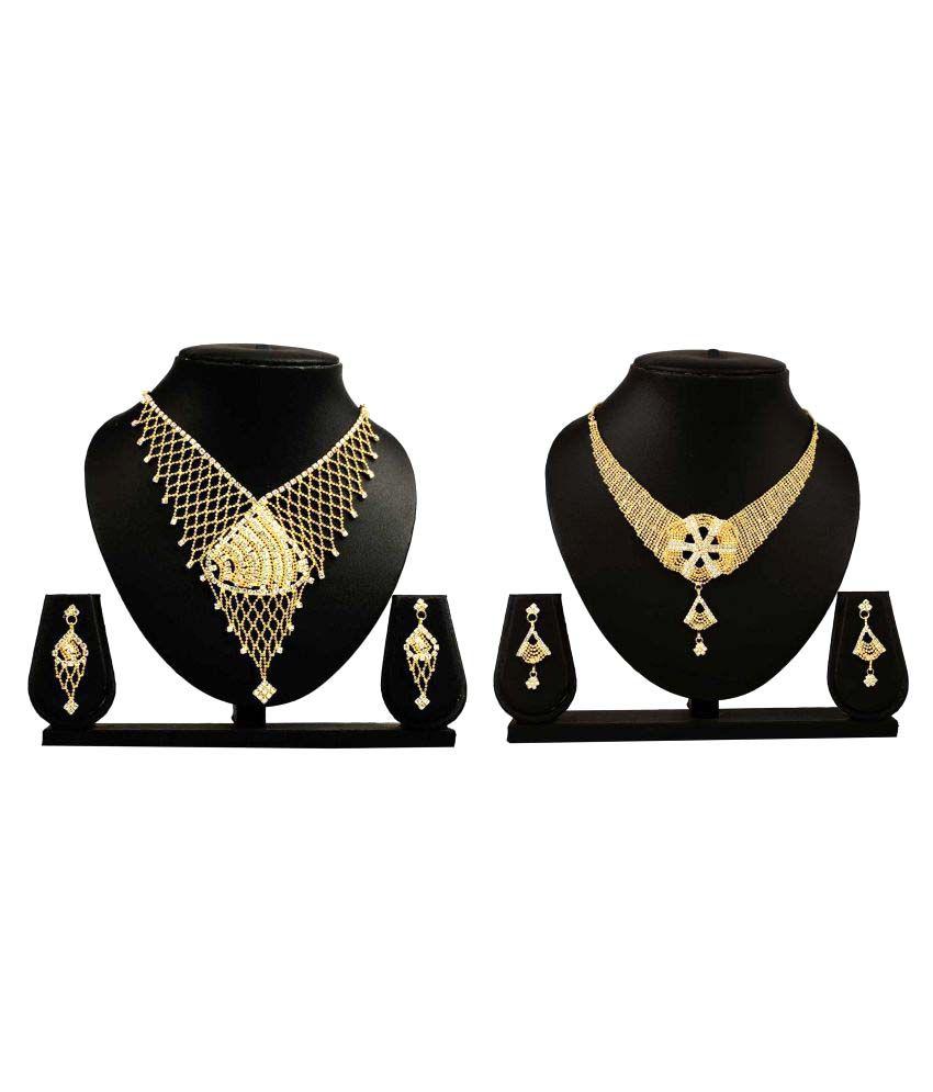 Dealseven Fashion Presents Golden Alloy Necklace set Combo