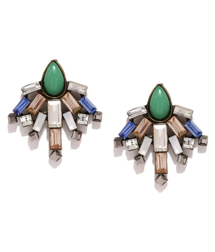 Golden Pea Multicoloured Silver Plated Oversized Stud Earrings Online At Best