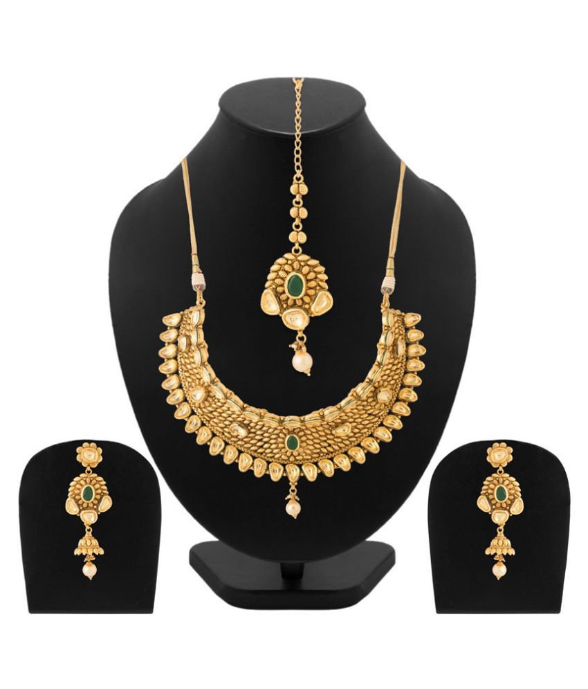 Navrang Golden Traditional Necklace Set For Women