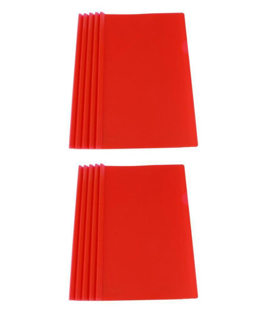 DataKing Polypropylene Stick File With Cross Line Embossing (Set of 10, Red)