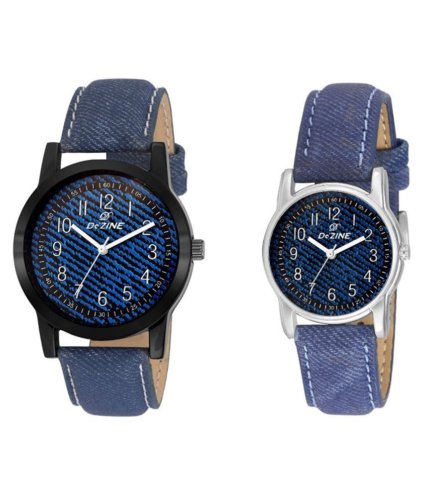 Dezine Blue Analog Couple Watches   Gr069