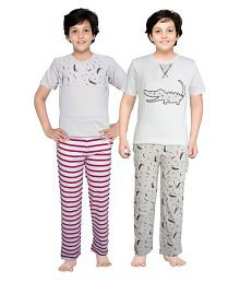 Junior Boxer Multicolour Cotton Boy's T-Shirt and Pajama Set - Pack of 2