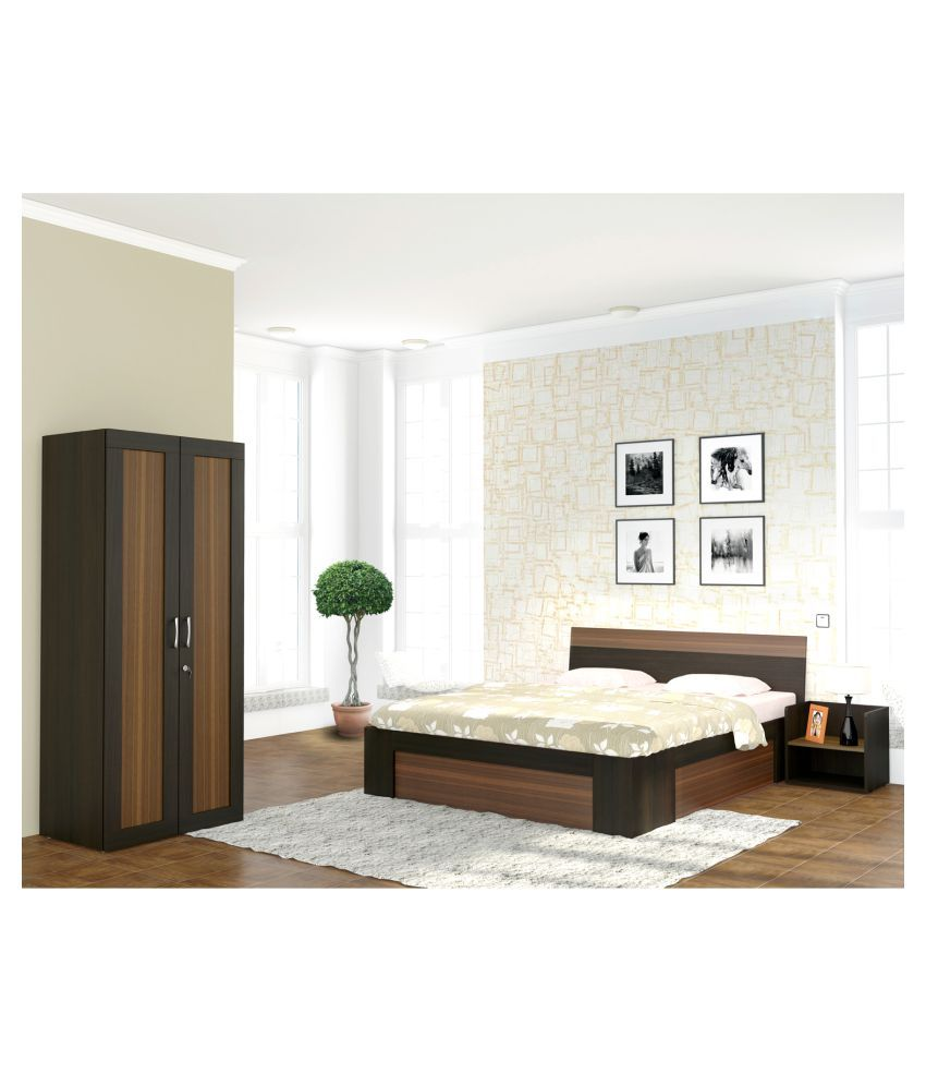 ... White Cedar Bed Room Set (King Size Bed + Two Doors Wardrobe + One Side  ...