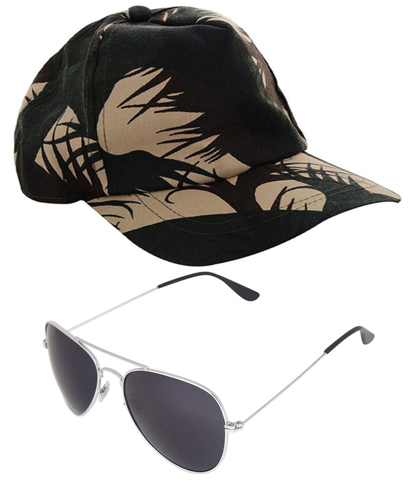 c90894bfa92 Abloom Khaki Cotton Military Cap with Sunglass  Buy Online at Low Price in  India - Snapdeal
