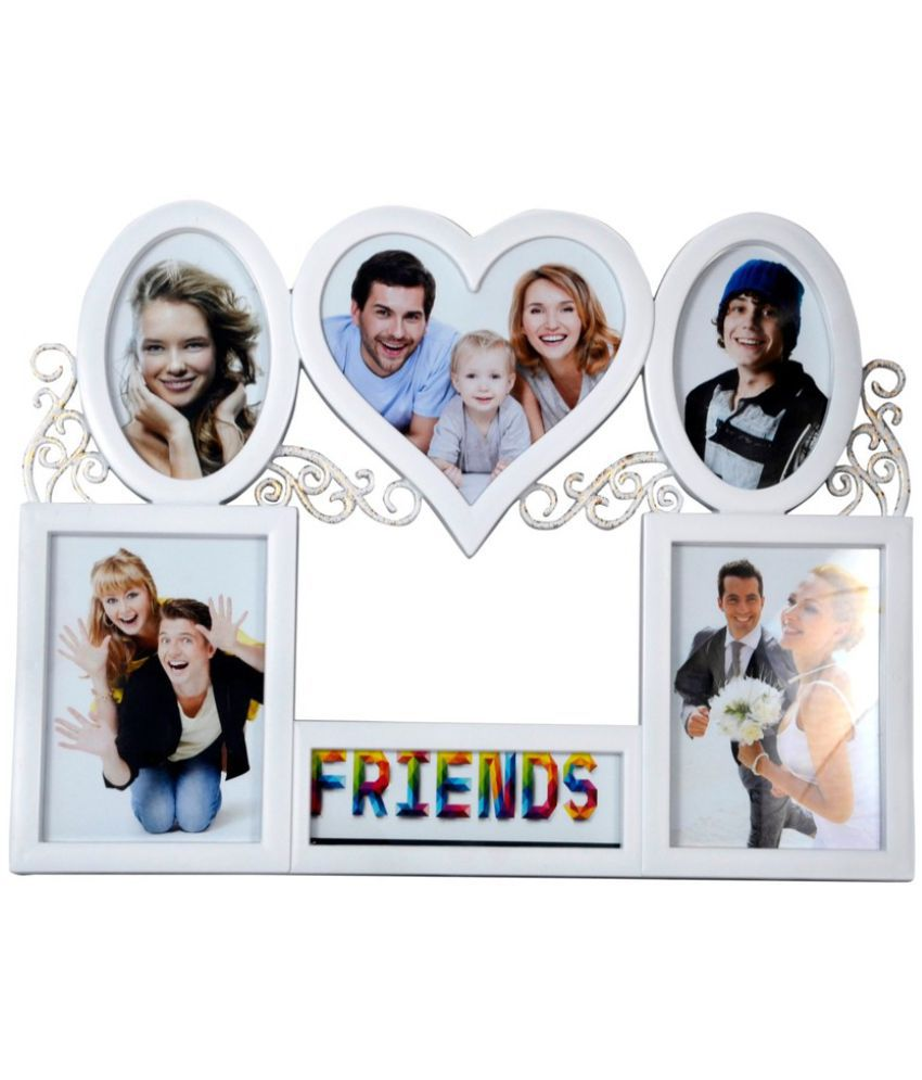 Archies Collage Frames Plastic Wall Hanging White Collage Photo Frame - Pack of 1
