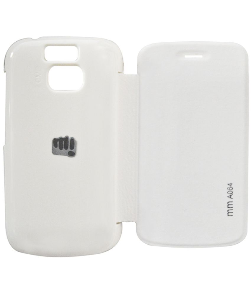 reputable site d5e5b c8147 Micromax Bolt A064 Flip Cover by COVERNEW - White