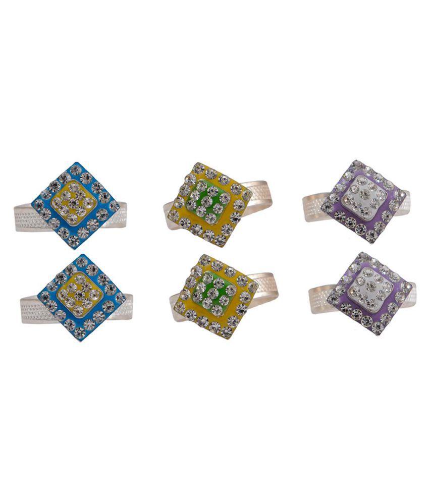 Taj Pearl Designer Women Adjustable Toe Ring - Pack of 3 Pairs