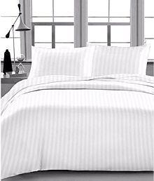 Ryegrass King Satin Stripe White Stripes Bed Sheet