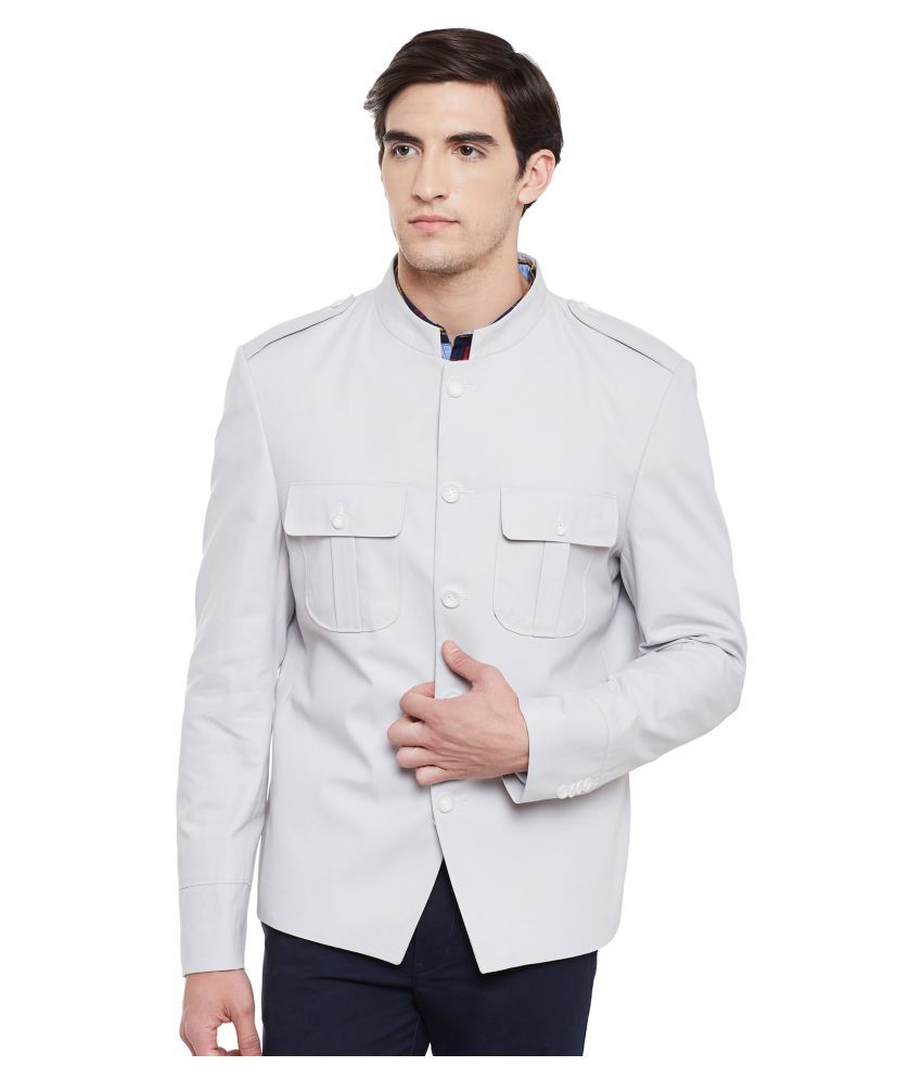 Envoy White Solid Casual Blazers
