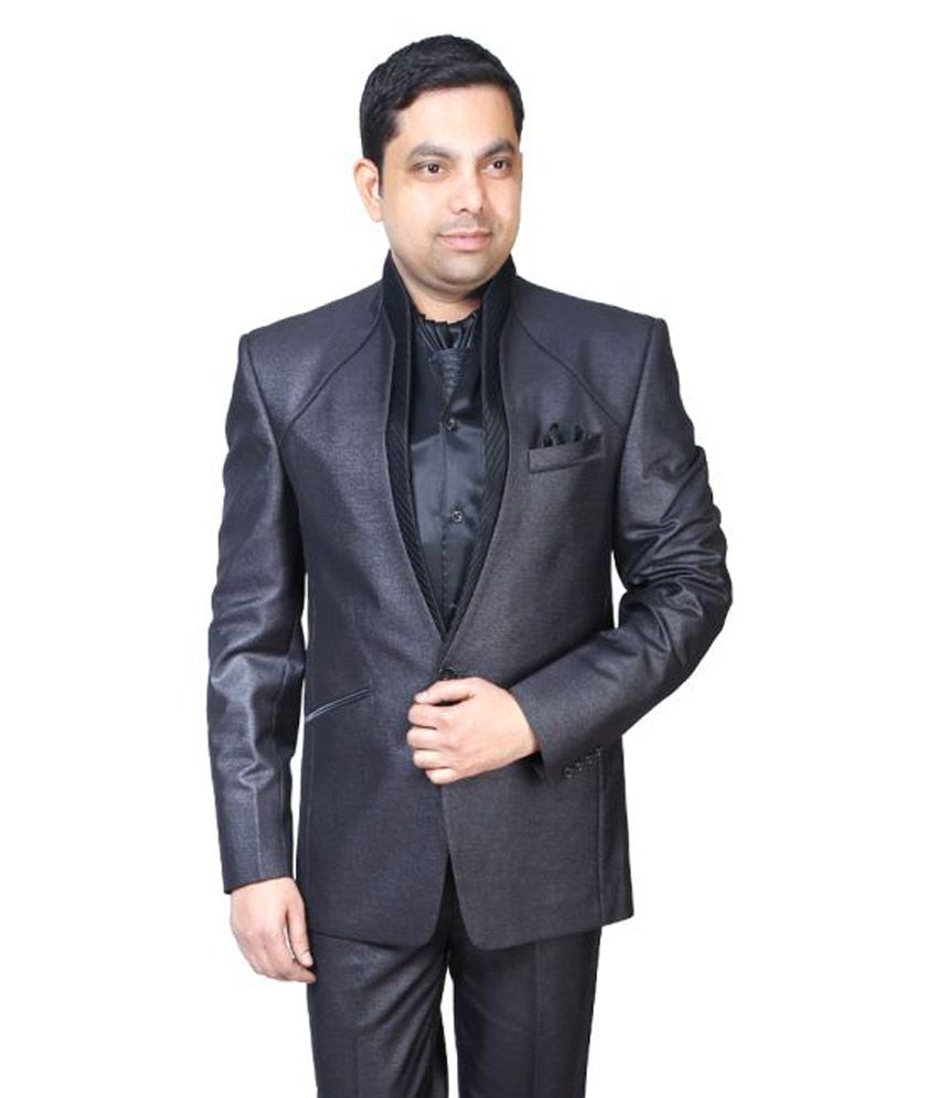 Bindals Black Solid Party 3 Piece Suits