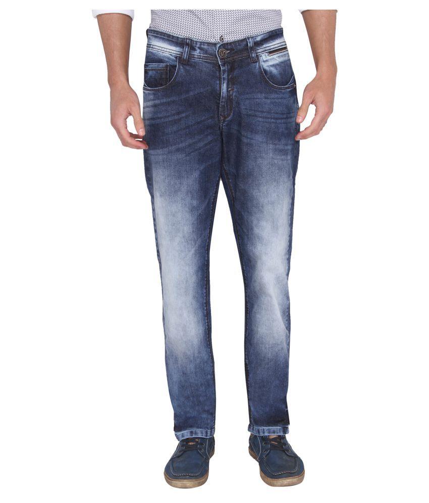 A La Mode Dark Blue Regular Fit Jeans