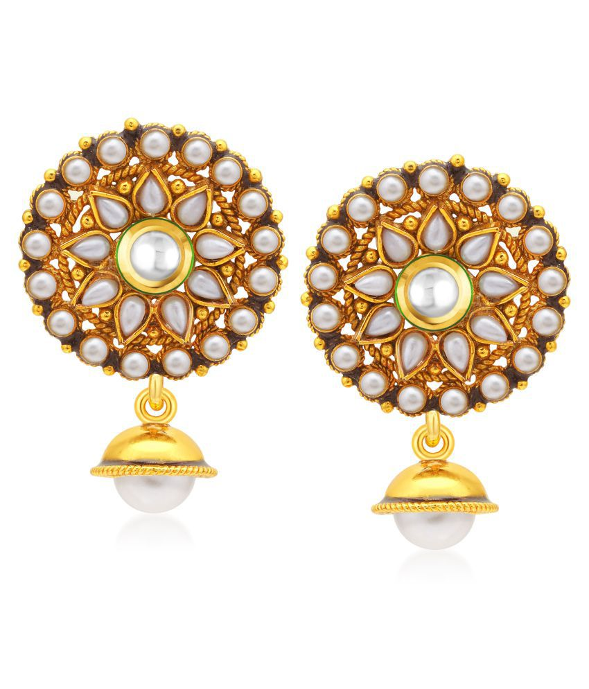 Sukkhi Shimmering Gold Plated Drop Earrings