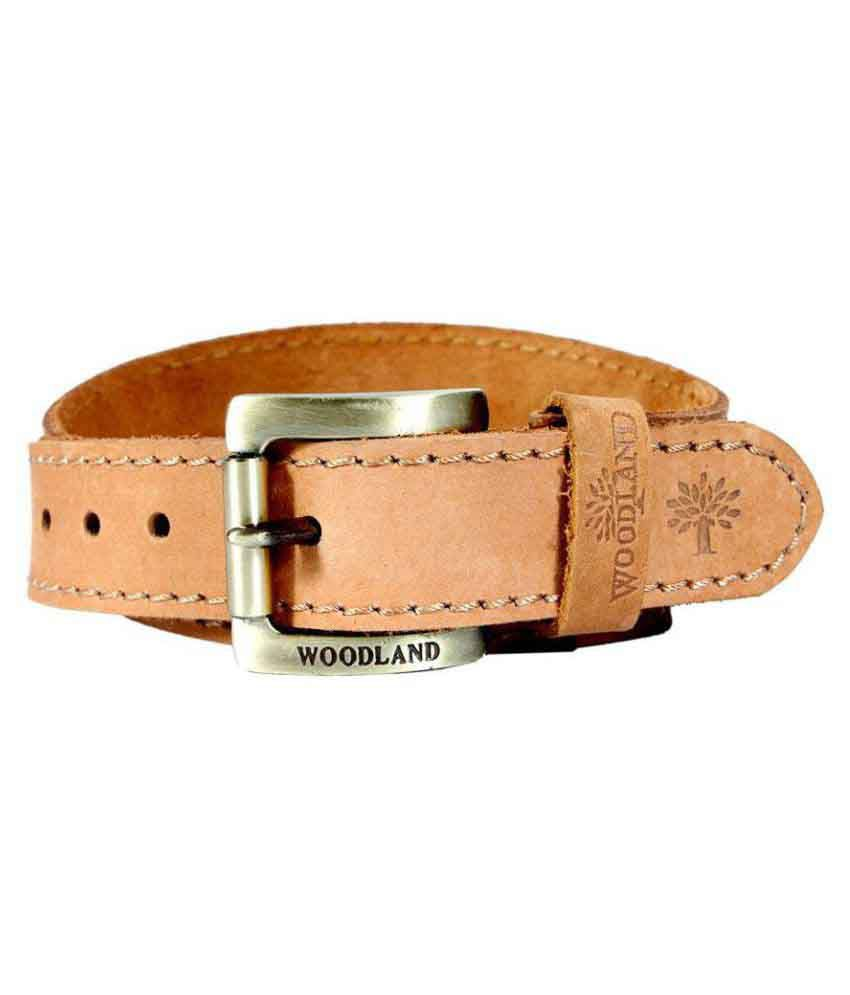 Woodland Beige Leather Casual Belts
